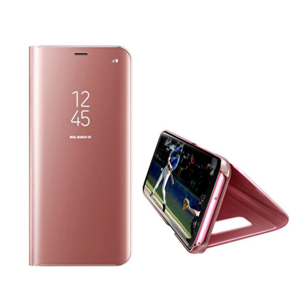 Electroplate Clear Smart Kickstand Mirror View Flip Cover Sleep wake Phone Case Screen Protector for Samsung Galaxy S8 - PINK