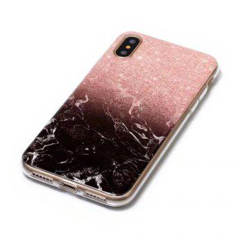Black and Pink Marble Design Clear Bumper Glossy TPU Soft Rubber Silicone Cover Phone Case for iPhone X - BLACK / PINK
