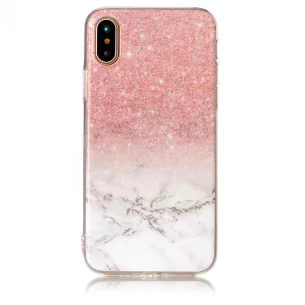 Pink White Marble Design Clear Bumper Glossy TPU Soft Rubber Silicone Cover Phone Case for iPhone X - PINK