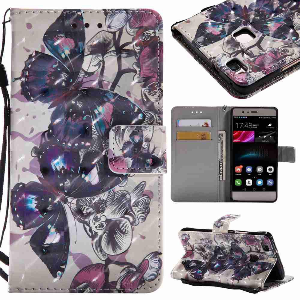 Explosions 3D Painted PU Phone Case for HUAWEI P9 Lite - BLACK