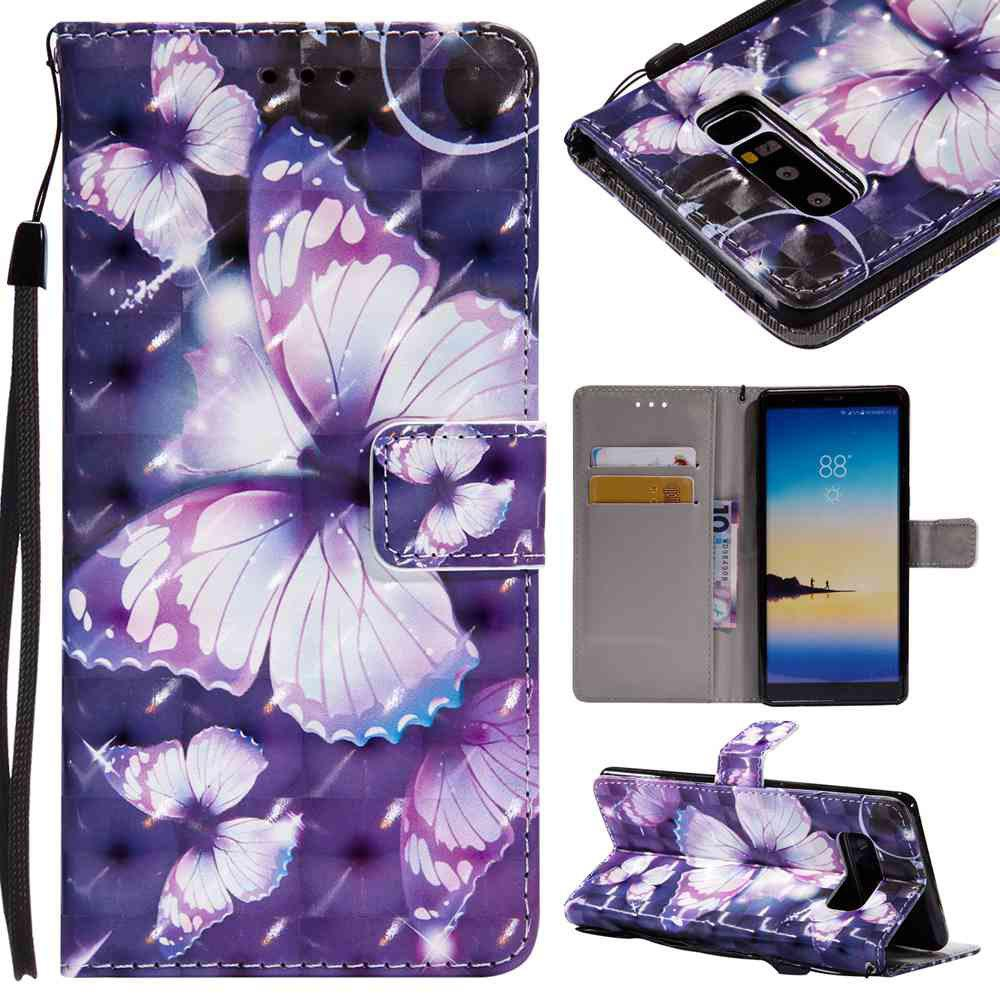 Explosions 3D Painted PU Phone Case for Samsung Galaxy Note 8 - PURPLE
