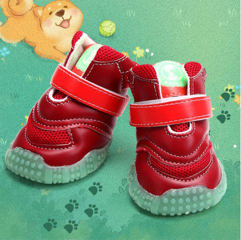 Lovoyager VB1024 Autumn and Winter Warm Antiskid Luminous Dog Shoes - RED L