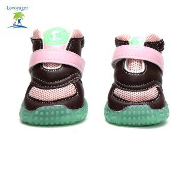 Lovoyager VB1024 Autumn and Winter Warm Antiskid Luminous Dog Shoes - PINK S