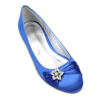 5049-4Women's Wedding Shoes Comfort Ballerina Spring - BLUE BLUE