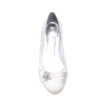 5049-4Women's Wedding Shoes Comfort Ballerina Spring - WHITE WHITE