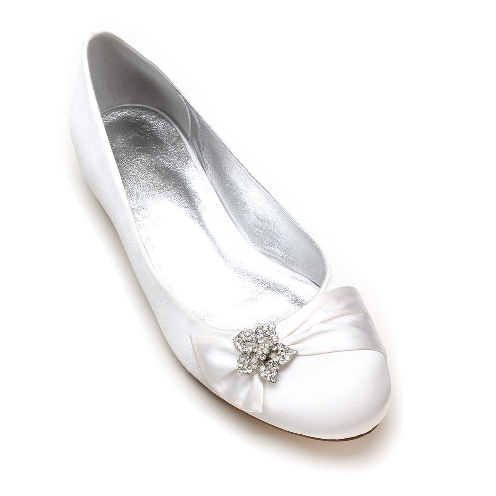 5049-4Women's Wedding Shoes Comfort Ballerina Spring - WHITE 36