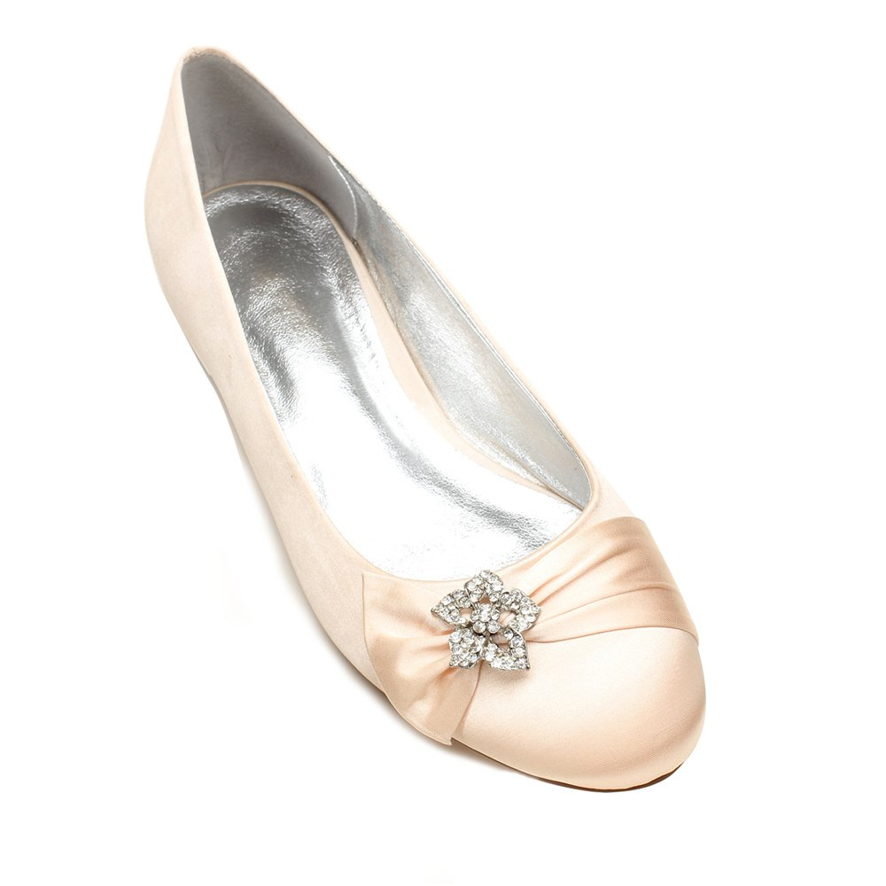 5049-4Women's Wedding Shoes Comfort Ballerina Spring - CHAMPAGNE 36