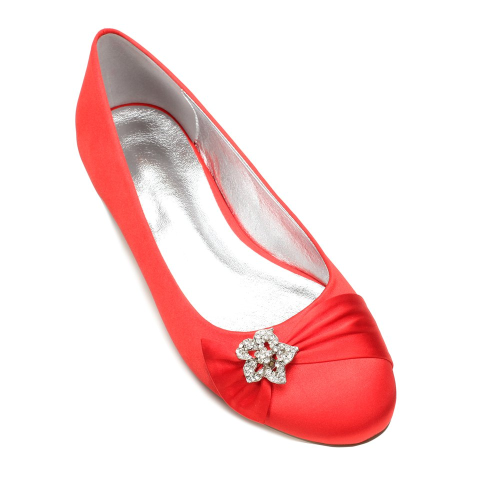5049-4Women's Wedding Shoes Comfort Ballerina Spring - RED 36