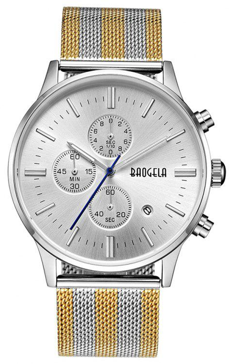 BAOGELA 1611 Chronograph Men Watch with Multi-function Stainless Steel Mesh Band - multicolor B