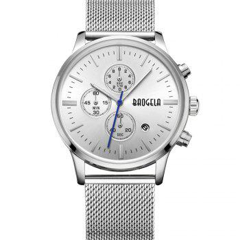 BAOGELA 1611 Chronograph Men Watch with Multi-function Stainless Steel Mesh Band - SILVER SILVER