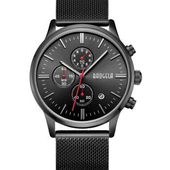 BAOGELA 1611 Chronograph Men Watch with Multi-function Stainless Steel Mesh Band - BLACK BLACK