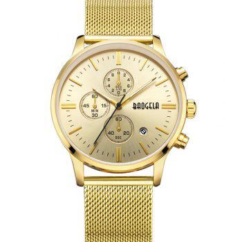 BAOGELA 1611 Chronograph Men Watch with Multi-function Stainless Steel Mesh Band - GOLDEN GOLDEN