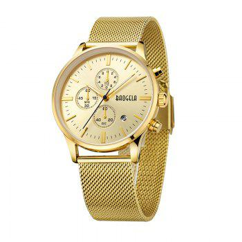 BAOGELA 1611 Chronograph Men Watch with Multi-function Stainless Steel Mesh Band - GOLDEN