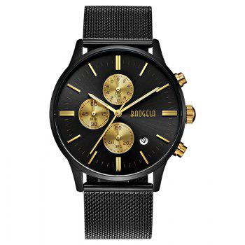 BAOGELA 1611 Chronograph Men Watch with Multi-function Stainless Steel Mesh Band - BLACK GOLD BLACK GOLD