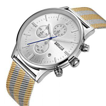 BAOGELA 1611 Chronograph Men Watch with Multi-function Stainless Steel Mesh Band -  SILVER GOLD STEEL WHITE