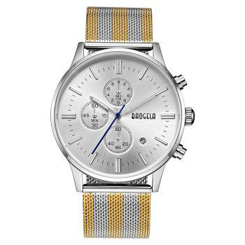 BAOGELA 1611 Chronograph Men Watch with Multi-function Stainless Steel Mesh Band - SILVER GOLD STEEL WHITE SILVER GOLD STEEL WHITE