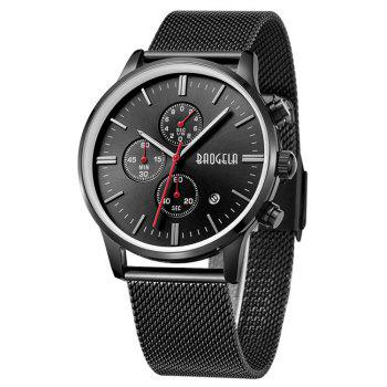 BAOGELA 1611 Chronograph Men Watch with Multi-function Stainless Steel Mesh Band - BLACK