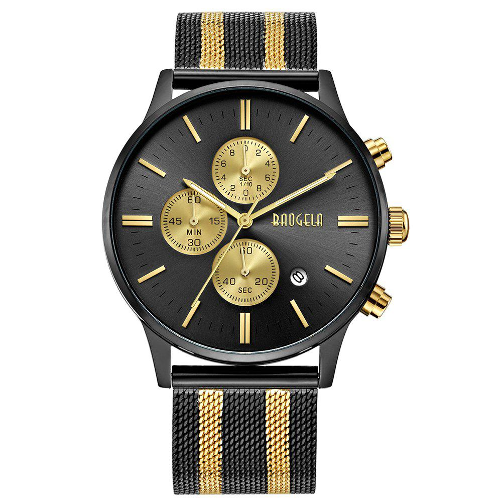 BAOGELA 1611 Chronograph Men Watch with Multi-function Stainless Steel Mesh Band - BLACK / GOLDEN DOT