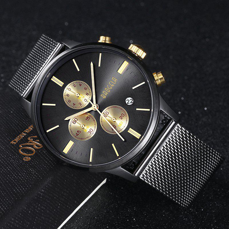 BAOGELA 1611 Chronograph Men Watch with Multi-function Stainless Steel Mesh Band - BLACK GOLD