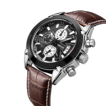 Baogela 1602 Men Multifunctional Fashionable Causal Leather Strap Sports Quartz Wrist Watch - BROWN BLACK