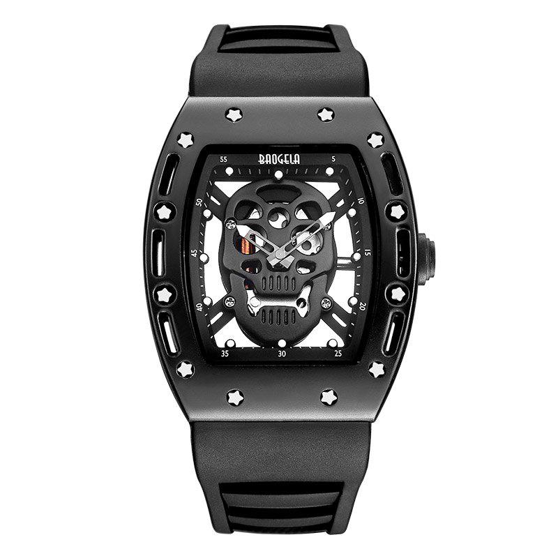 Baogela 1612 Fashionable Creative Silicon Band Men Watch - BLACK