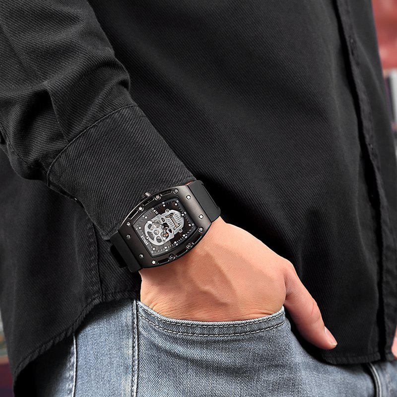 Baogela 1612 Fashionable Creative Silicon Band Men Watch - BLACK WHITE