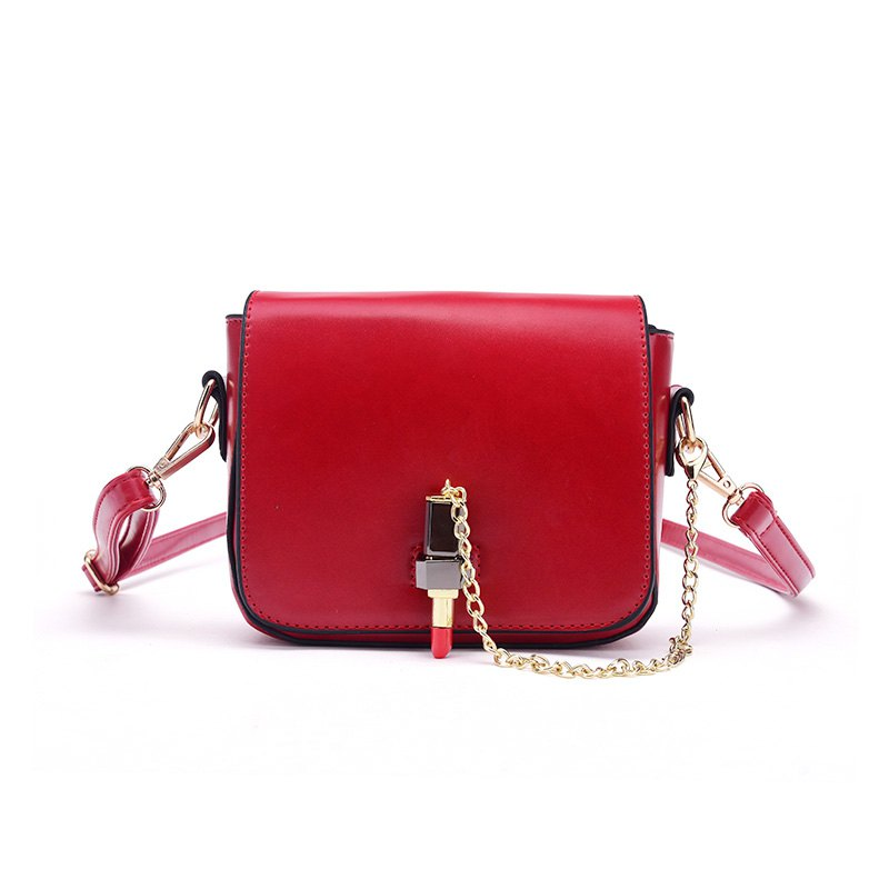 Solid Color Female Small Lipstick Lock Single Shoulder Handbag Chain Small Bag - RED