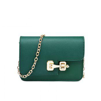 Simple Chain Lock Personality Casual Handbag Crossbody Bag - GREEN GREEN