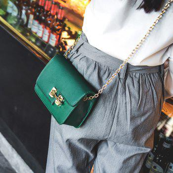 Simple Chain Lock Personality Casual Handbag Crossbody Bag -  GREEN