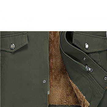 Men Winter Solid Warm Coat - ARMYGREEN XL