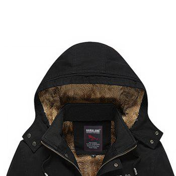 Men Winter Solid Warm Coat - BLACK BLACK