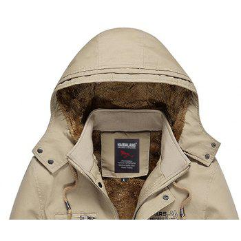 Men Winter Solid Warm Coat - DARK KHAKI 3XL