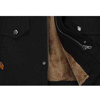 Men Winter Solid Warm Coat - BLACK L