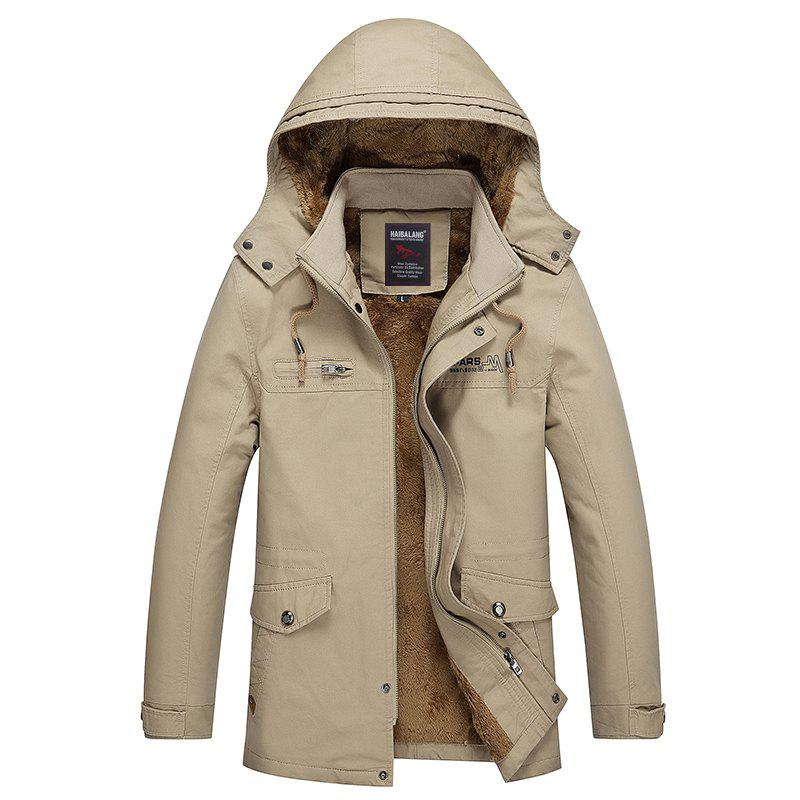 Men Winter Solid Warm Coat - DARK KHAKI M