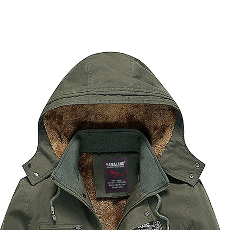 Men Winter Solid Warm Coat - ARMYGREEN M