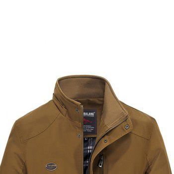 Men Solid Autumn Coat - DARK KHAKI 5XL