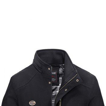Men Solid Autumn Coat - BLACK BLACK