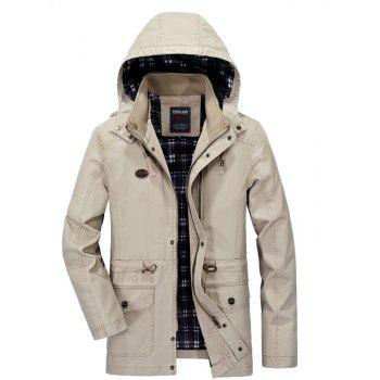 Men Solid Autumn Coat - LIGHT KHAKI LIGHT KHAKI