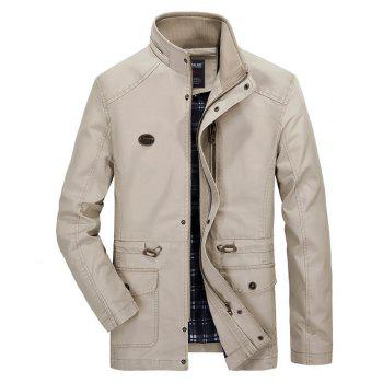 Men Solid Autumn Coat - LIGHT KHAKI L