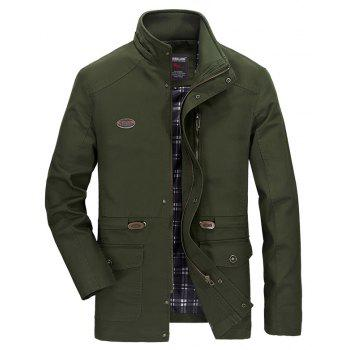 Men Solid Autumn Coat - ARMYGREEN L