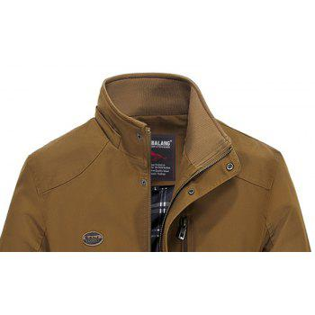 Men Solid Autumn Coat - DARK KHAKI L
