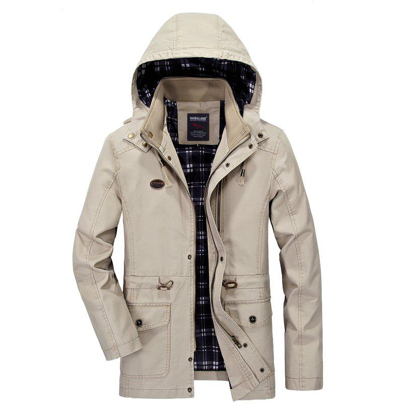 Men Solid Autumn Coat - LIGHT KHAKI 4XL