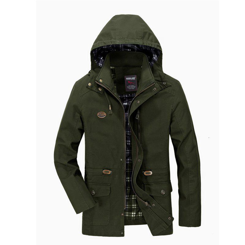 Men Solid Autumn Coat - ARMYGREEN 3XL