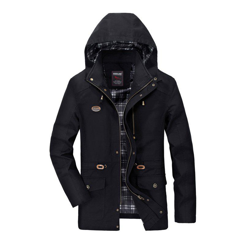 Men Solid Autumn Coat - BLACK XL