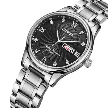 CADISEN C2012M Men Stainless Steel Waterproof Quartz Watch - BLACK / SILVER