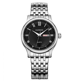 CADISEN C6128 Men Luxury Stainless Steel Band Quartz Watch - BLACK + SILVER BLACK / SILVER