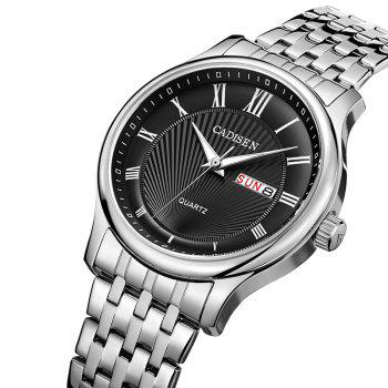 CADISEN C6128 Men Luxury Stainless Steel Band Quartz Watch -  BLACK / SILVER