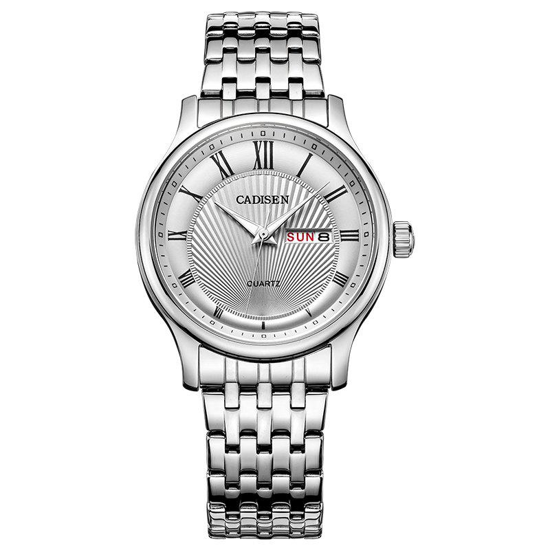 CADISEN C6128 Men Luxury Stainless Steel Band Quartz Watch - WHITE / SILVER