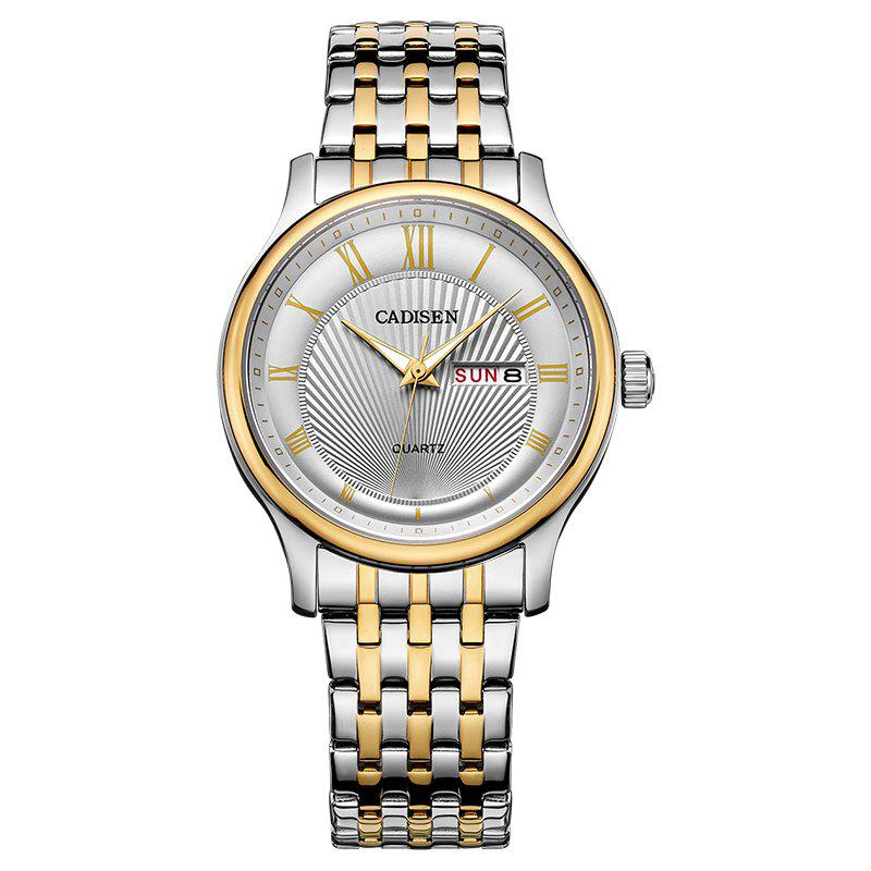 CADISEN C6128 Men Luxury Stainless Steel Band Quartz Watch - WHITE / GOLD