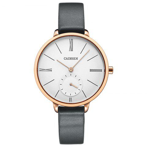 CADISEN C6135 Contracted Leather Band Quartz Women Watch - ROSE GOLD/GREY